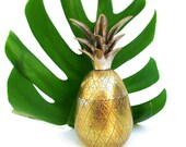 Vintage Gold Metal Pineapple Canister // Hollywood Regency Decor Statue