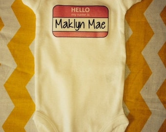 """Custom """"Hello My Name is"""" Personalized Name Tag New Baby Bodysuit boy / girl"""