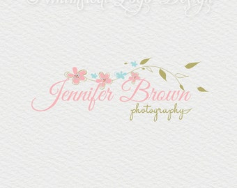 Floral  Logo Design Premade Photography Logo  Watermark Design,Calligraphy Flowers for Photographer Boutique - flowers logo Boutique  Logo