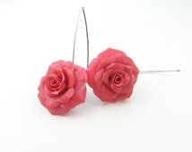 Polymer clay roses - polymer clay jewelry - dangle earrings - floral jewelry - floral earrings