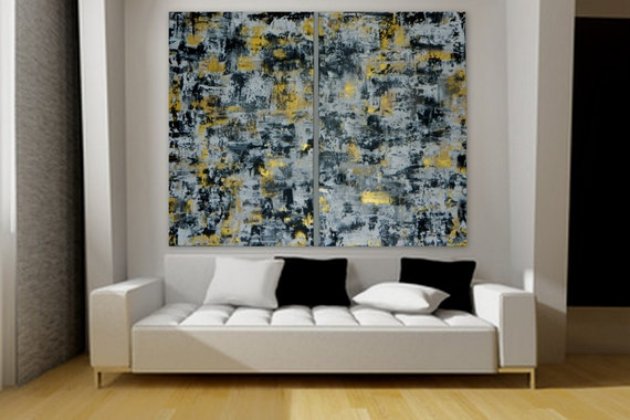 Large wall art black white gold modern abstract painting large acrylic painting original custom order  Original abstract  Marcy Chapman