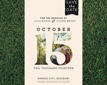 Large Date Photo Wedding Save the Date // 4x6 // DIY Printable // Modern Wedding, Bold Save the Date