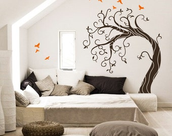 Curly Winter tree - Large vinyl wall  tree decal with  migratory bird stickers, wall mural - MM024