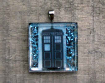 TARDIS DR WHO Necklace White Jewelry Necklace for Him Art Gift for Her Printed on Recycled Paper under Glass Shield