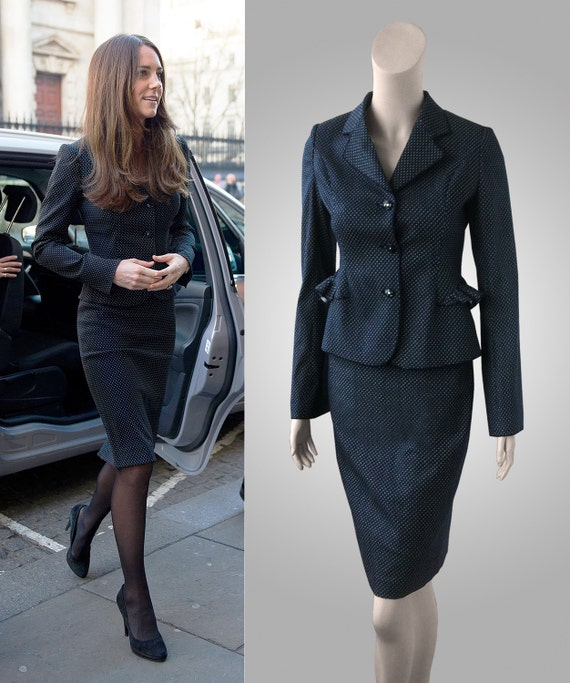 Items Similar To Dark Navy Blue Polka Dot Suit Inspired By