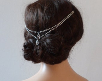 1920s  wedding Headpiece - Bohemian, headchain  style Bridal Accessory - Great Gatsby Headpiece - crystal bun accessory