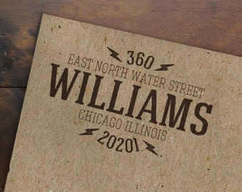 Custom Address Stamp • Return Address • Wooden Handle Personalized Rubber Stamp • Hipster • Made to Order
