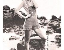Crochet Hot Pants Pattern Vintage 1960s Bib Front Shorts Crochet Pattern Flower Border PDF Instant Download Womens Bust 32 35 -C27