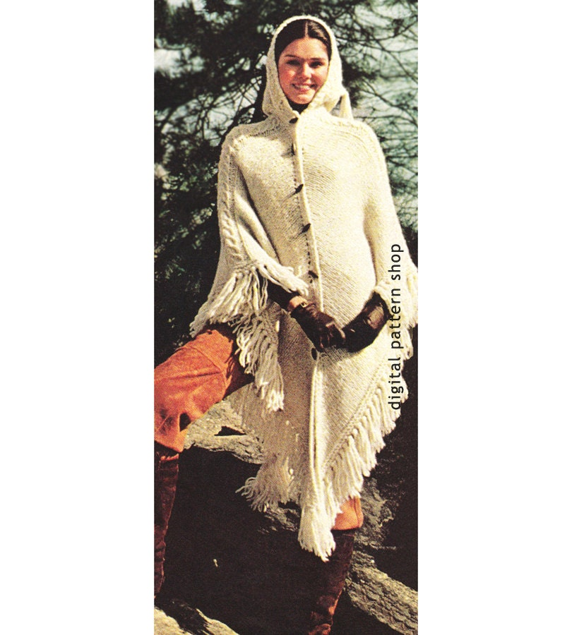 Knitting Pattern For A Hooded Cape Cloak Or Poncho : Womens Knit Cape Pattern 1970s Vintage Hooded Cape Poncho