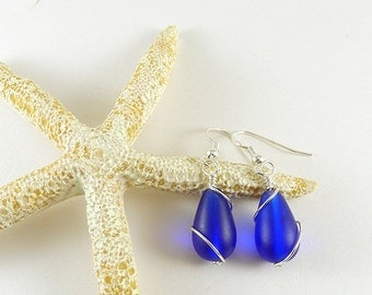 Cobalt blue sea glass earrings sea glass jewelry seaglass earrings sterling silver handmade jewelry wire wrapped bridesmaids jewelry