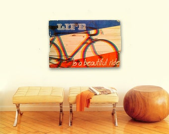 Retro Bicycle Wall Art on Solid Wood Boards - Life is a Beautiful Ride - Color Separation