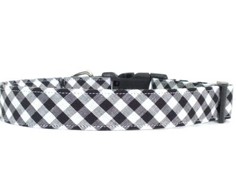 Fancy Black and White Gingham Dog Collar