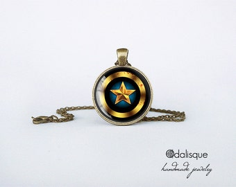 Handmade Captain America Pendant Black Shield Bronze Pendant gift present jewelry birthday for him for her round circle Superhero necklace