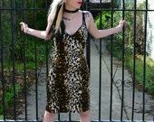 90s Leopard Fuzzy VELVET Grunge GOTH Club KID Bodycon Dress