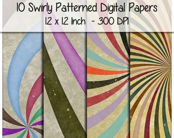 1970s Retro Groovy Swirly Patterned Digital Papers 12 x 12 Inch 300 DPI