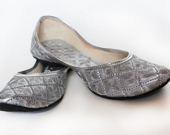 US SIZE 7/ Women Ballet Flats/Silver Women shoes / Designer Bridal Shoes/ Wedding Shoes/ Royal Styled Jooties
