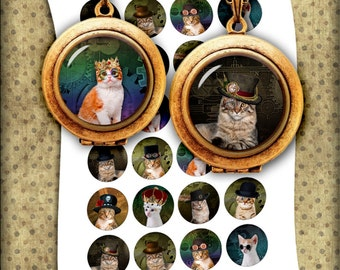 Steampunk Cats Bottle cap Images 1 inch, 25mm, 1.5 inch Printable Images - Digital Collage Sheet - Instant Download