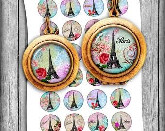 Paris Eiffel Tower Circles 1 inch 20mm 25mm 35mm 1.5 inch Bottle cap images  Pendant Images - Digital Collage Sheet - Instant Download
