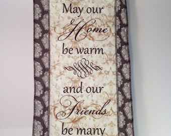Word Art Quilted Wall Hanging Tapestry Warm Home Many Friends Medium Sized