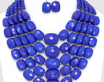Multi Strands necklace set, statement, Bib necklace, Royal blue necklace, Gift idea, Beadwork.