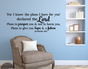 Jeremiah 29:11 For I Know The Plans Vinyl Wall Decal Sticker