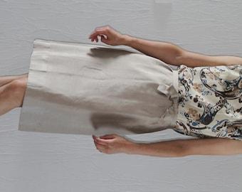 Beige silk 1950s dress