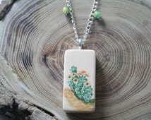 Cactus Domino Necklace Prickly Pear Cactus in Bloom - Hand Painted Domino with Green Beads and Silver Plated Chain and Lobster Clasp