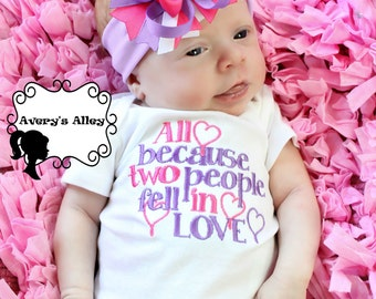 All because two people fell in love - Girls Embroidered Shirt & Matching Hair Bow Set