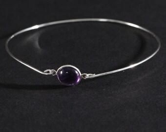 Gemstone bangle bracelet - silver gemstone bangle - amethyst gemstone bracelet - stackable bangle - everyday bracelet - bridesmaids gift