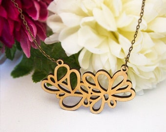 Handmade Wood Laser Cut ' Random Leaf ' Pendant Necklace