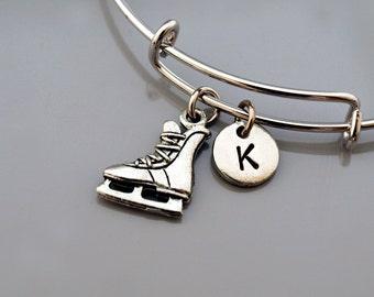 Ice Hockey Skate bangle, Ice hockey skates charm bracelet, Ice hockey player, Expandable bangle, Personalized bracelet, Initial bracelet