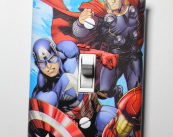 Avengers Captain America Thor Light Switch Plate Cover Comic Book boys child kids Superhero room home decor bedroom