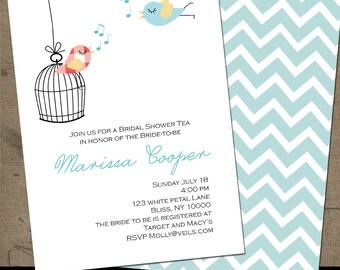Love Birds Bridal Shower Invitation Digital Couples Shower Invitations Printed Shower Invites Birdcage Music Gingham Wedding Shower Invite