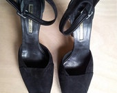 """Vintage shoes MAX BIANCO 90s italian brand, black suede, size 7.5"""", heel 4.29"""", perfect condition."""