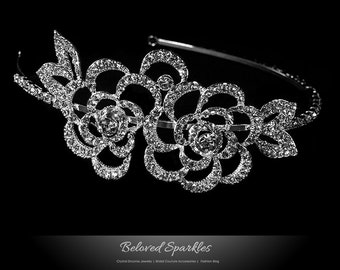 Bridal Headband, Flower Cluster Swarovski Crystal Headband, Bridal Crystal Heaband, Wedding Rhinestone Headband, Vintage Floral Headband