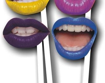 4 Lips on Sticks - Photo realistic in Crazy Colours for photo booths made from 3mm acrylic 013-751 Photo Prop