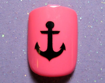 Anchor nail art decal stickers-finger nail decals- vinyl nail art- (choose 25 or 50 nail decals)