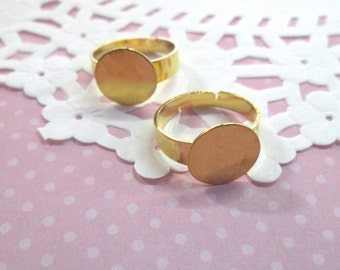 12mm Adjustable Ring Blanks, Gold Plated, Pick Your Amount, A63