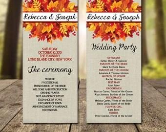 Fall Wedding Program Printable Autumn Simple