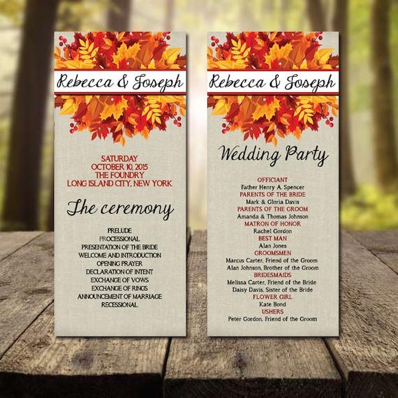 Fall Wedding Program Printable Autumn