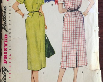 Simplicity 4636 - 1950s Slash Front Dress with Straight Skirt and Detachable Collar and Cuff Option - Size 18