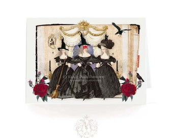 Halloween card, 3 witches, Marie Antoinette, black, witches, cat, broomstick, crows, vintage spell book, poison, holiday card