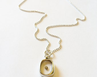 New Silver Faith Mustard Seed Necklace - Faith Charm, Small Oval Resin Charm, Simple Everyday Necklace