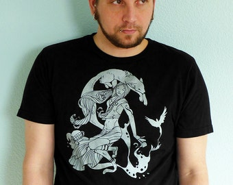 Coffee Tshirt, Fox Shirt - Fox Screen Print T-shirt, Graphic Tee, Coffee Gift - Coffee Creatures Unisex Men's T-shirt