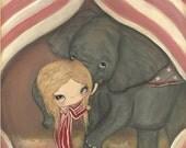 Elephant Print Circus Elephant Carnival Wall Art---Elephant Kisses