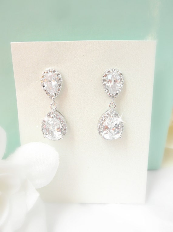 Clear CZ Teardrop Bridal Earrings // cubic zirconia // rhinestone // wedding earrings // vintage // bridal earrings
