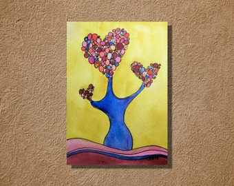 "Heart Tree on Yellow Watercolor and Ink Landscape Painting Drawing  5"" x 7""  Wall Art"