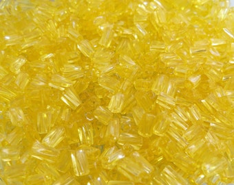 7x3.4mm Sol Gel Transparent Yellow Czech Glass Twisted Square Tube Beads 20 Grams (CS211)