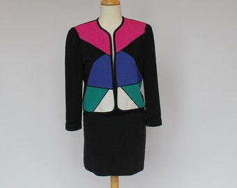80's Color Block Jacket / Leslie Fay / Polyester Knit / Cropped / Petite / Small
