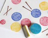 knitting hand carved rubber stamp set. bowl of yarn and knitting needle stamp. for knitters crafters makers. set of 2. small